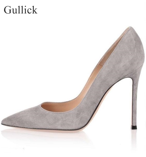 Top Quality Gray Suede High Heel Pumps Pointed Toe Slip-on Women Party Dress Shoes Sexy 2018 Women High Heels Shoes Size 10 sexy hollow cut out wood pattern high heel pumps pointed toe slip on women party dress shoes sexy 11cm office lady pumps