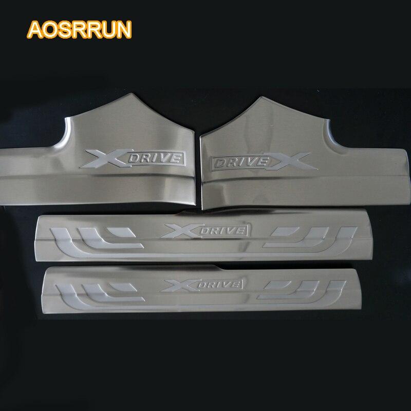 AOSRRUN plaque de seuil de porte intérieure en acier inoxydable couvre accessoires de voiture pour BMW X3 F25 2011 2012 2013 2014