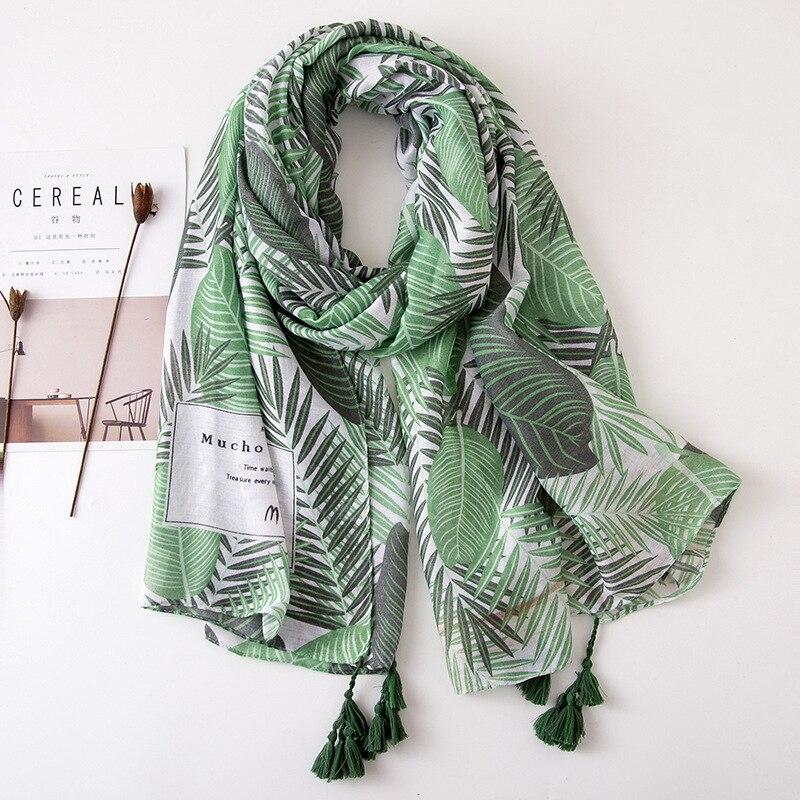 Spain Luxury Brand Green Leaves Floral Tassel Viscose Shawl Scarf Bandanas Women Foulard Pashmina Muslim Hijab Snood 180*100Cm