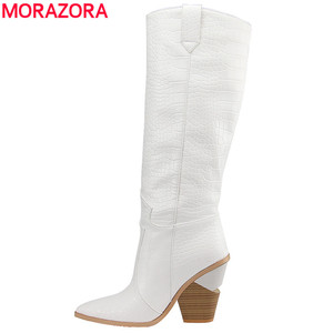 Image 1 - 7 colors 2020 New Brand women boots pointed toe thick high heels knee high boots autumn winter shoes slip on sexy ladies shoes