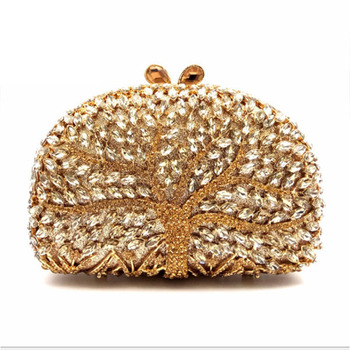 Women tree shape Evening Hand Bag Crystal Dressed Clutch Bags Wedding Party Chain Purse Small Handbag Mini Day Clutches gold new fashion sequined envelope clutch women s evening bags bling day clutches pink wedding purse female handbag 2019 banquet bag