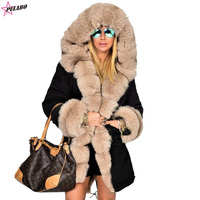 Plus Size Women Winter Jacket Coat Hooded Overcoat Cotton Coat Women Faux Fur Coat Warm Parka Women's Thick Furs Military Coat