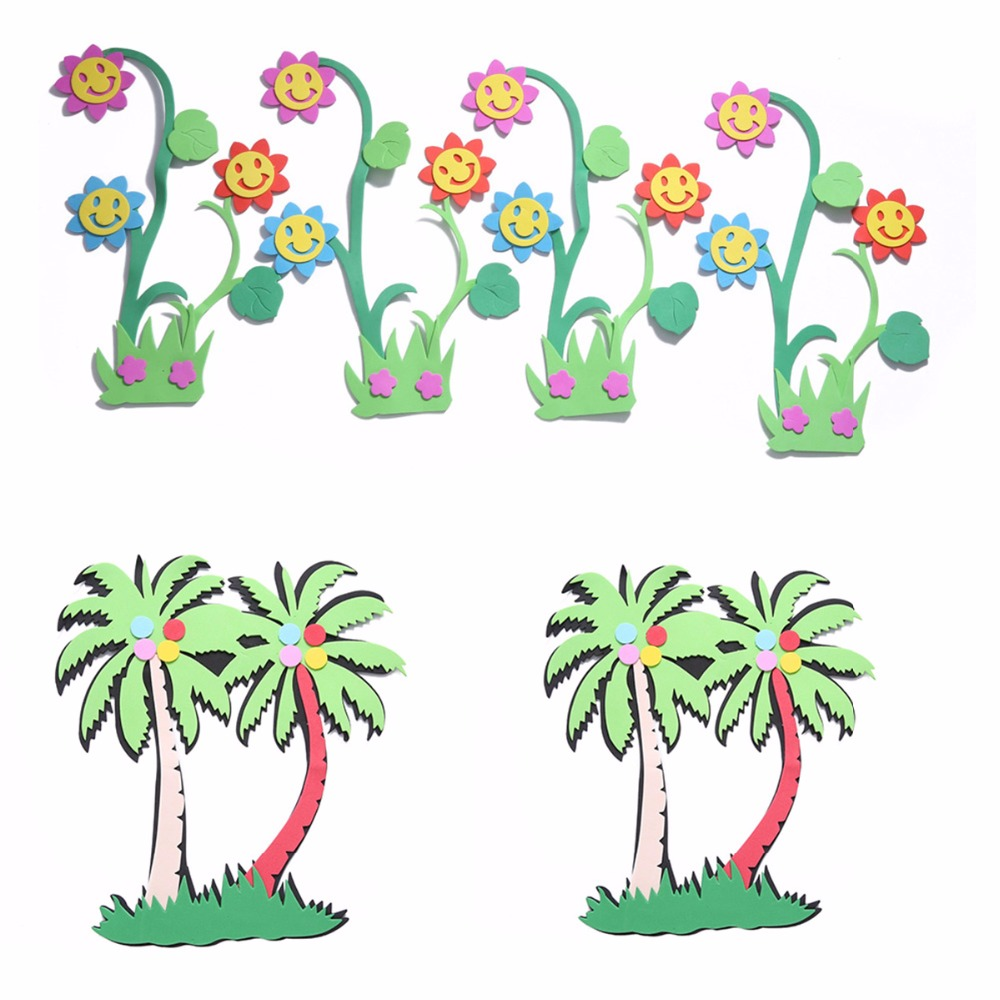 3d Diy 3 4 Pcs Lot Plam Pohon Bunga Matahari Stiker Dinding Kartun Tanaman Bunga Eva Busa Alam Decals Kamar Bayi Mainan Mandi Dekorasi Rumah Wall Stickers Aliexpress