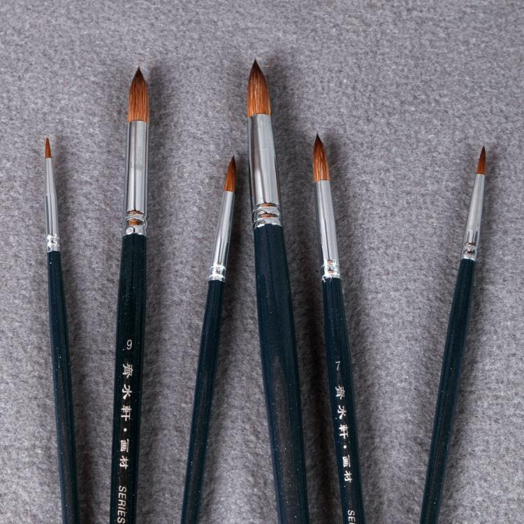 6pcs set qishuixuan brand weasel hair round head paint for Best paint brush brands