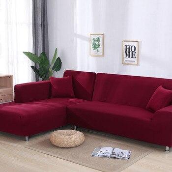 Grey apretado del Color de cubierta de sofá elástico necesita orden 2 piezas cubierta de sofá si L-estilo seccional sofá de la esquina capa de sofá