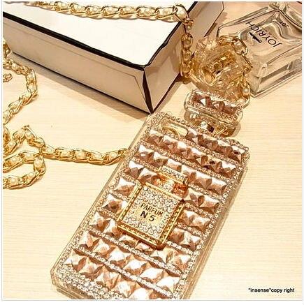 imágenes para Para la Galaxia Caja de Perfume de Oro Borde S7 Cubierta de TPU la Toma de diamante Perla Collar de Cadena de Cuero de Señora Girl Regalo de La Manera CALIENTE