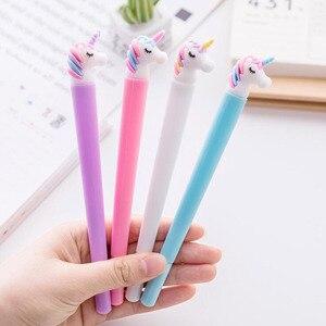 Image 2 - 31 sztuk/zestaw śliczne canetas zwierząt długopis żelowy jednorożec kawaii 0.5mm czarny tusz długopisy prezent biurowe biurowe szkolne Canetas