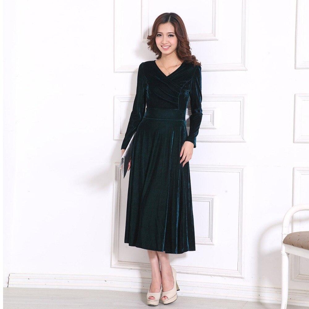 25d46025f5 2019 Plus Size S – 5XL 4XL XXXL Women Clothing Winter Maxi Dresses Elegant  Velvet Dress Purple Red Blue Green Vintage Warm Dress