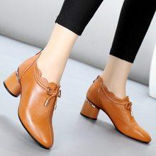 ea33ff5a89 Outono sapatos única fêmea 2018 novo selvagem de couro cabeça redonda com  sapatos vermelhos sapatos boca profundo das mulheres g.