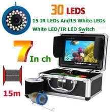 Эхолот рыболокатор, подводная камера для рыбалки 1000 ТВЛ, монитор 7 дюймов, 15 м, 30 светодиодов, водонепроницаемый, КМОП датчик