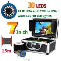 Monitor de 7 pulgadas 15M 1000TVL buscador de peces cámara de vídeo de pesca submarina 30 Uds LED detector de peces impermeable Sensor CMOS