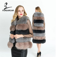 FURSARCAR Women Winter Real Fur Vest Natural Genuine Leather Fox Fur Coat 100 CM Long Warm Female Detachable Fox Fur Gilet
