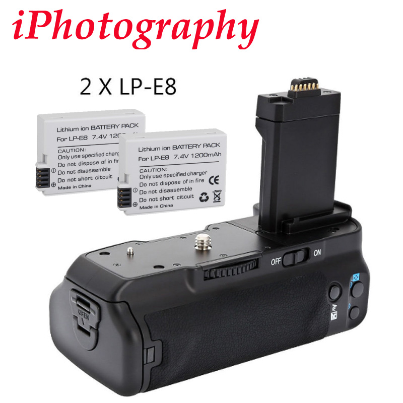 MeiKe MK-550D BG-E8 Battery Grip for Canon 550D 600D 650D 700D + 2x LP-E8 original brand new lp e8 lpe8 battery for canon eos 550d 600d 650d 700d kiss x4 x5 x6i x7i rebel t2i t3i t4i t5i lc e8e camera