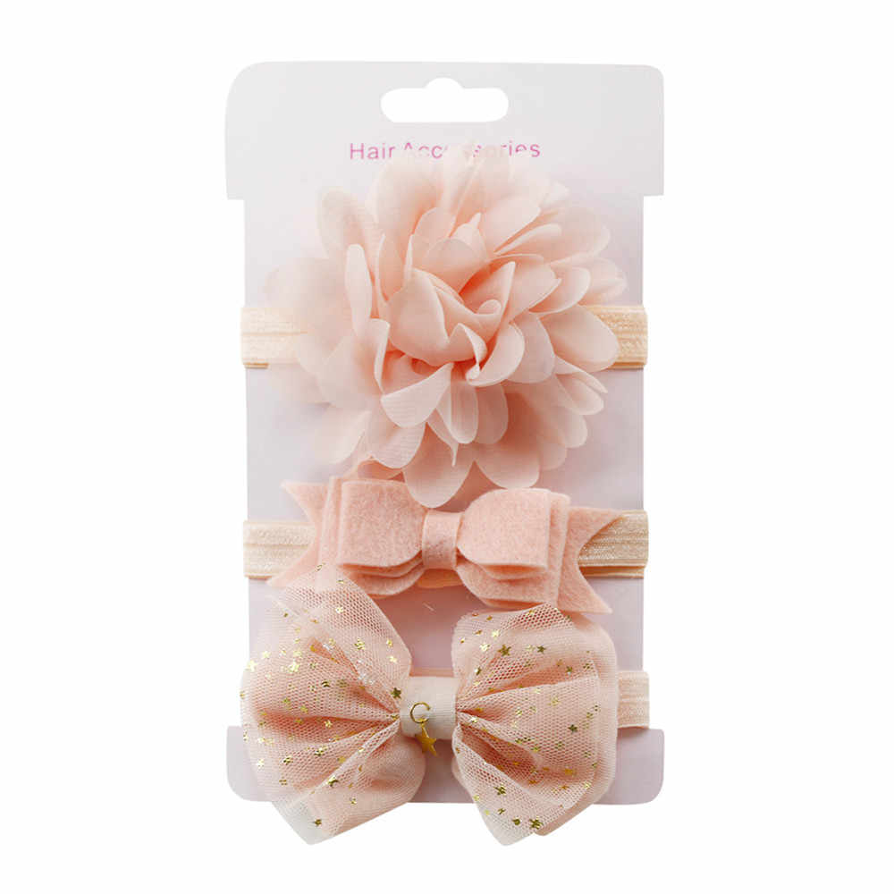 3Pcs Kids Elastic flower headband 2019 Headbands Hair Girls baby Bowknot Hairband baby girl accessories set  photography