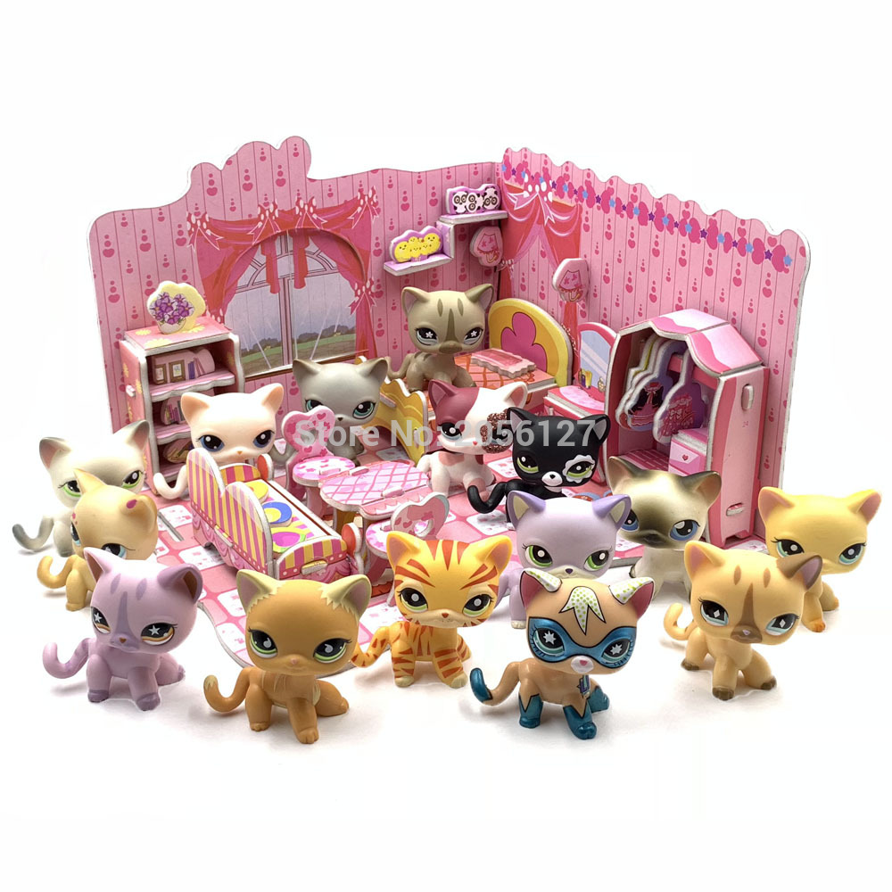Rare pet shop lps toys standing cute short hair cat collection with foam assembled bedroom castle accessories gift toys for kid