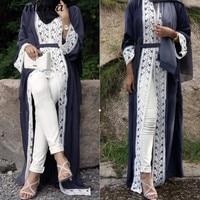 Beonlema Women Muslim Open Rode Black Open Abaya Turkish Long Lace Tunic Kaftan For Ladies Musulam Clothing Plus Size Caftan