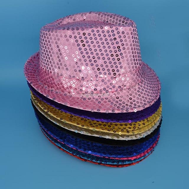 048986face2 Children Boys Girls Sequins Jazz Hat Glitter Trilby Dance Hats Cap  Children s Day Performance Show Wear