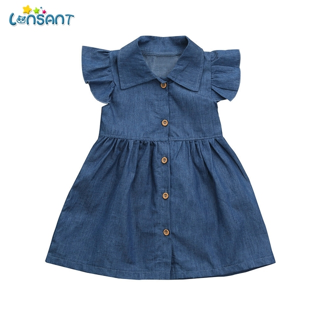 73b1bcd712f1 LONSANT New Summer Hot Fashion Newborn Toddler Infant Baby Girls Blue Dress  Solid Princess Denim Dresses Outfits Clothes