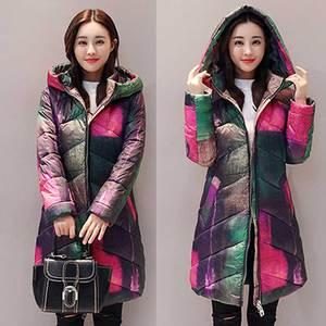 Image 4 - Jaqueta estampada de inverno plus size, casaco feminino de algodão, estampada, mais grosso, para mulheres, com capuz, parca longa, nova moda, casacos acolchoados, wz402