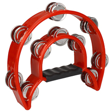 Wholesale 5X Hand Held Tambourine Double Row Metal Jingles Percussion Red