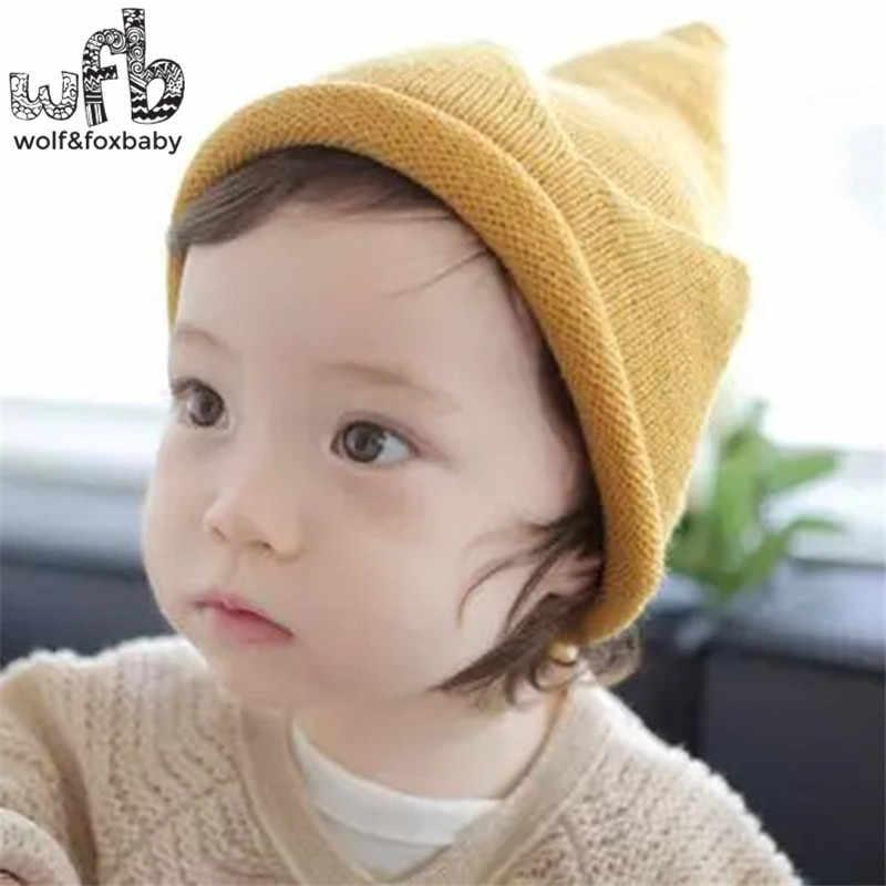 bb1a095c2a3 ... Retail 40-50CM round cap Crown Knitted woolen cap warm fashion baby  children infant kids ...