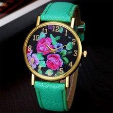 Mais novo Reloj Mujer CLAUDIA Moda Vogue das Mulheres Analógico Quartz Relógio de Pulso de Couro Rosa Floral Impresso FreeShipping Reloj Mujer
