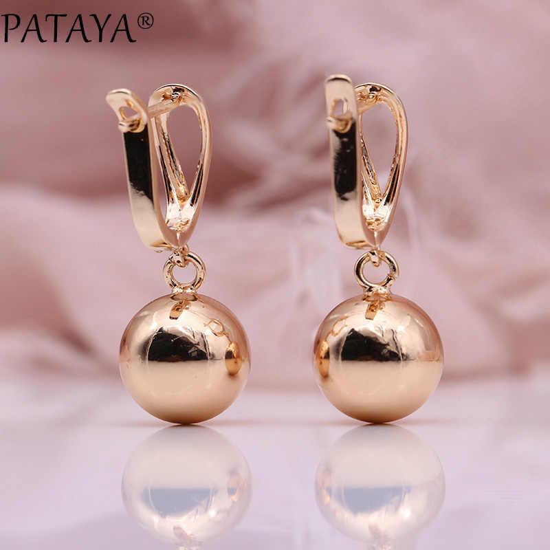 PATAYA New White Hollow Spherical Long Earrings Women Unique Fine Wedding Simple Fashion Jewelry 585 Rose Gold Dangle Earrings