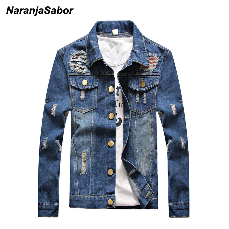 NaranjaSabor 2017 Autumn font b Men s b font Denim Coats Slim Bomber font b Jacket