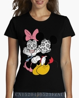 2017 Real Special Offer T Shirts Girl Mickey And Minnie Short Sleeves Casual Knitted Kpop Women