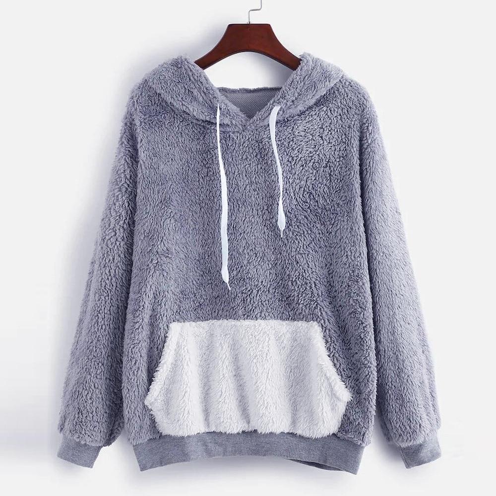 Fashion women fluffy tops hooded pullover pocket loose sweatshirt harajuku blouse sudaderas para mujer woman hoodies dropship