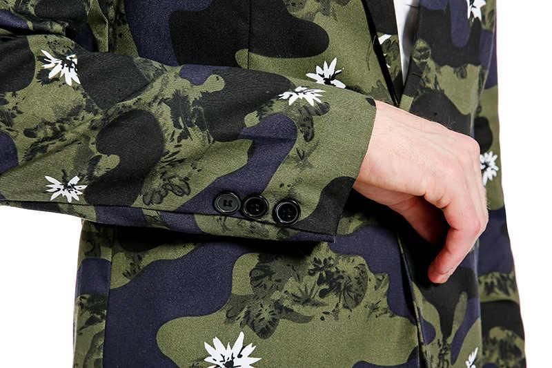 Ch。kwokメンズ迷彩ホワイトフラワープリントメンズスマートカジュアルバックルビジネスドレススリムフィットスーツ卸売