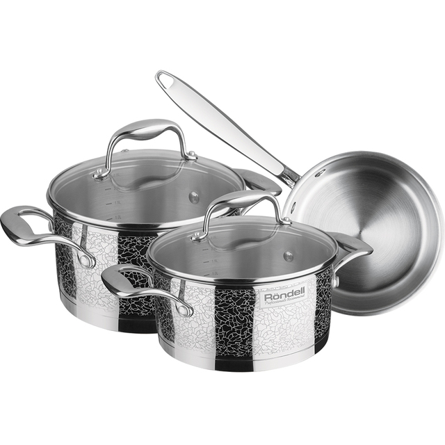 Набор посуды Rondell Vintage 6 предметов RDS-379 (Нержавеющая сталь, внутренние отметки литража, подходит для всех типов плит)