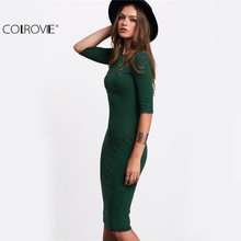 COLROVIE Work Summer Style Women Bodycon Dresses Sexy 2017 New Arrival Casual Green Crew Neck Half Sleeve Midi Dress(China)