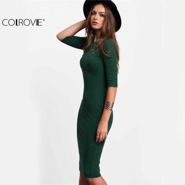 Colrovie работы Летний стиль Для женщин Bodycon Платья для женщин пикантные Новое поступление 2017 года Повседневное Green Crew Средства ухода за кожей шеи половина платье миди с рукавами