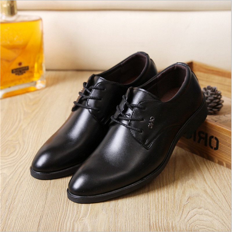 3 Options of Black Men Oxfords Dress Shoes Round Toe Leather Shoes Formal Lace Up Black