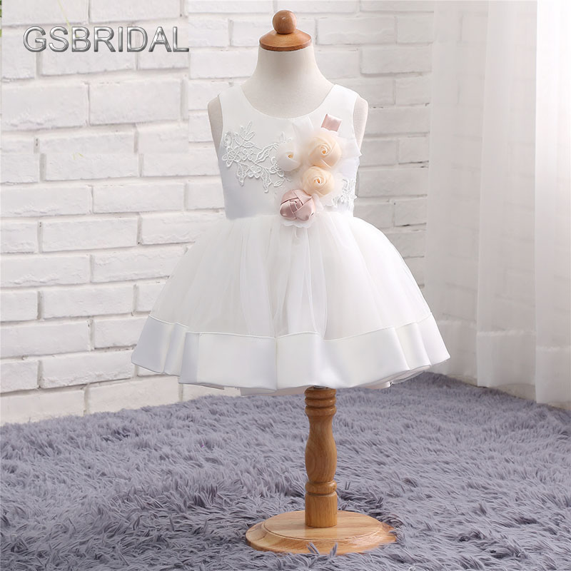 White Lace Appliques Flower Girl Dress