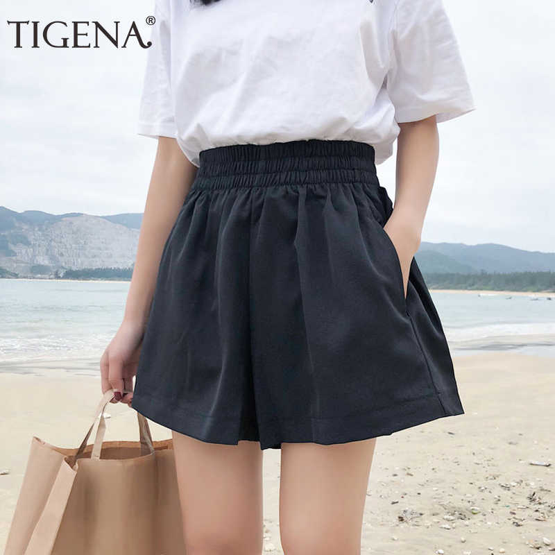 5042671bb5 TIGENA Black Khaki Elastic High Waist Shorts Women 2019 Summer Korean Style  Casual School Loose Shorts