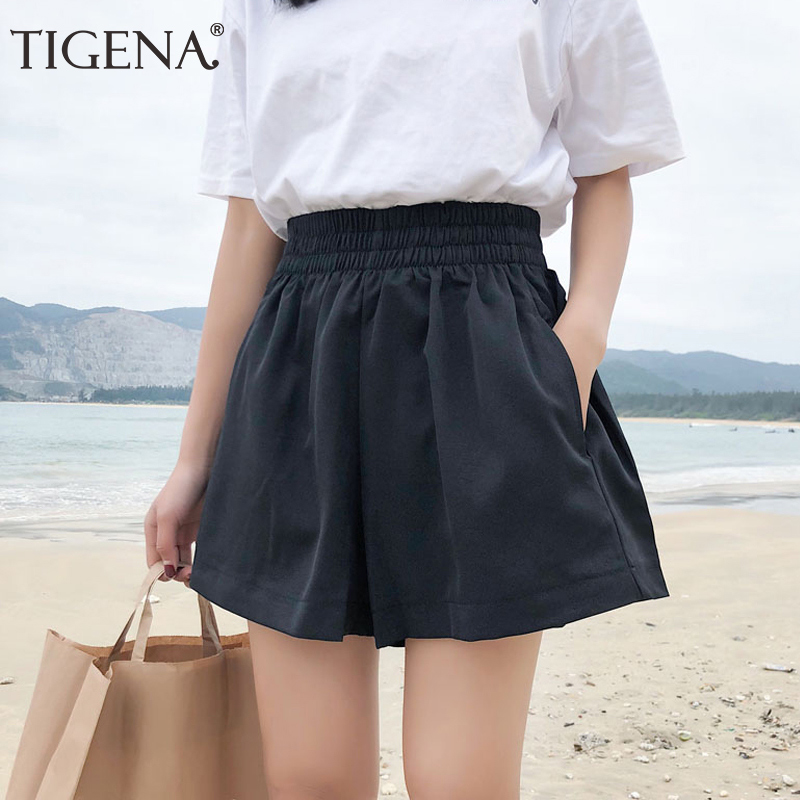 TIGENA Black Khaki Elastic High Waist   Shorts   Women 2019 Summer Korean Style Casual School Loose   Shorts   Female   Short   Pants Ladies