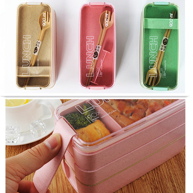 3-Layer Microwaveable Lunch Box with Utensils