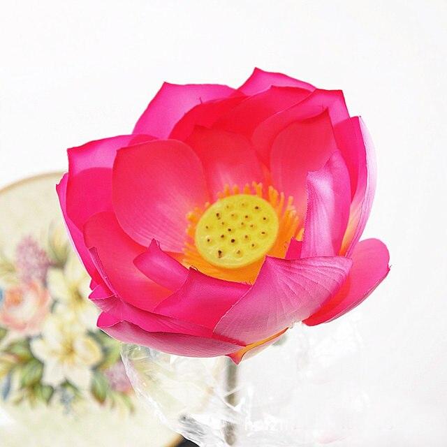 Online shop 95cm length 23cm diameter artificial lotus flower with 95cm length 23cm diameter artificial lotus flower with long stem fake lotus silk flower temples decor diy flower arrangement mightylinksfo