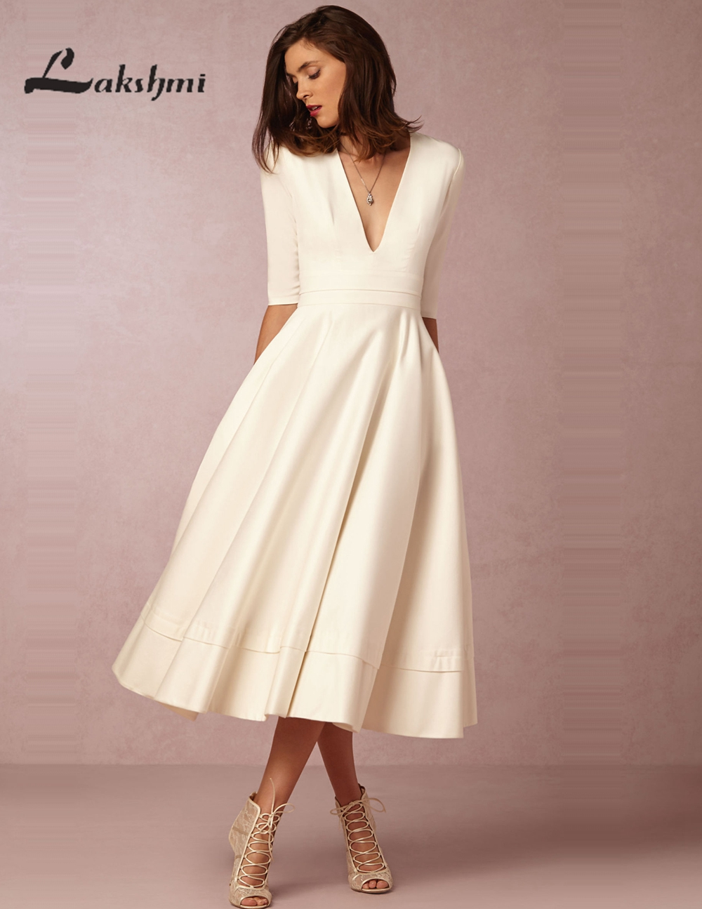 vintage tea length wedding dresses with half sleeve elegant deep v neck satin a