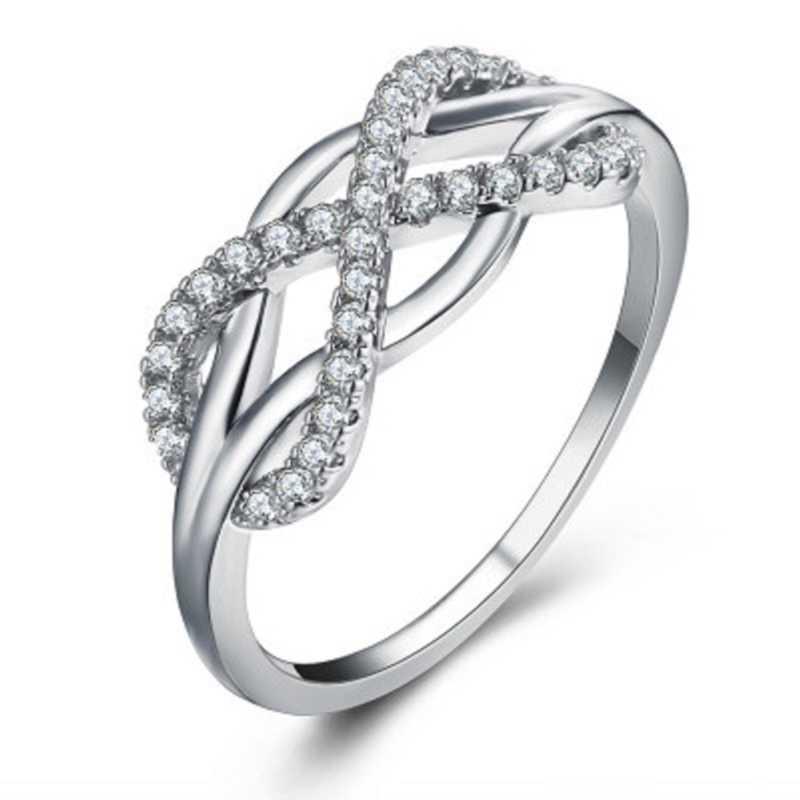 Модные стильные 8 формы Для женщин ювелирные изделия на безымянный палец Розовое Стразы золотистого цвета хрустальные кольца на возраст от 5 до 12 лет, Размеры