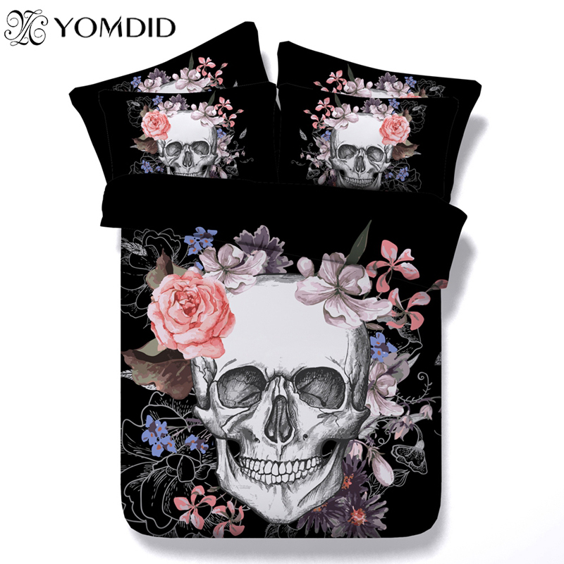 3D Skull Bedding sets Flower Skull Printed Duvet Cover Pillowcase for Queen King Size Bed set Europe Style Skull Bedding set