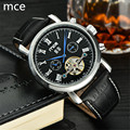 MCE Automatic Self-Wind Men's Mechanical Watch Luxury Brand Military Sport Watch Relogio Masculino Leather Mechanical Wristwatch