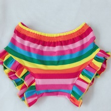 new colorful stripes pattern Ruffles Children hot sale childrens fashion cotton shorts