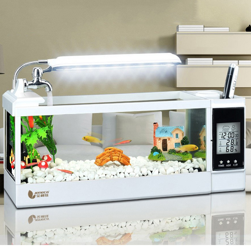USB Mini Aquarium Aquarium lampe à LED lumière LCD affichage écran horloge calendrier température Snooze bureau Aquarium décoration de la maison