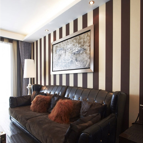 Europe type vintage coffee balck white stripe wallpaper High quality grid embossing bedroom living room TV setting wall paper new fine fabric texture wall of setting of the bedroom a study wallpaper of europe type style yulan wallpaper fashion pavilion