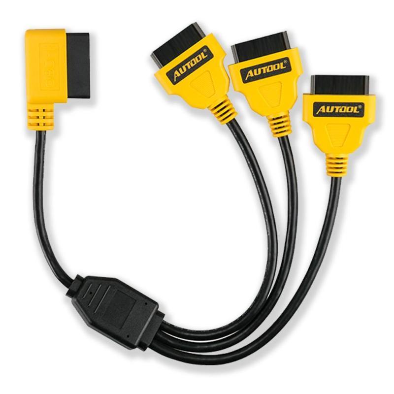 AUTOOL автомобильный OBD2 разделительный тер кабель автомобильный 50 см OBD 2 II Мужской и Женский Y кабели 1 до 3 конвертер адаптер удлинитель сплит-ш...