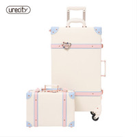 2018 20 26 Fashion Girl Retro Rolling Luggage Bagages Pu Leather Suitcase Trunk Vintage Valiz Spinner Wheels Trolley