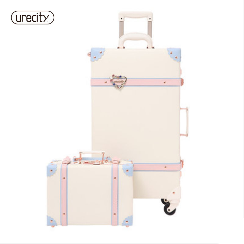2018 20 - 26 Fashion Girl Retro Rolling Luggage Bagages Pu Leather Suitcase Trunk Vintage Valiz Spinner Wheels Trolley